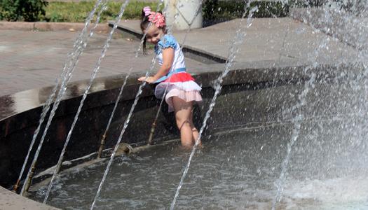 жара, погода, фонтан, девочка